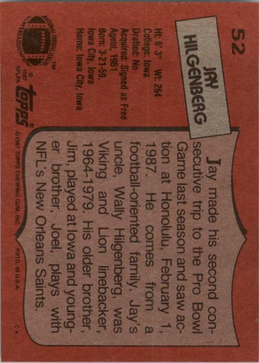 1987 Topps #52 Jay Hilgenberg back image