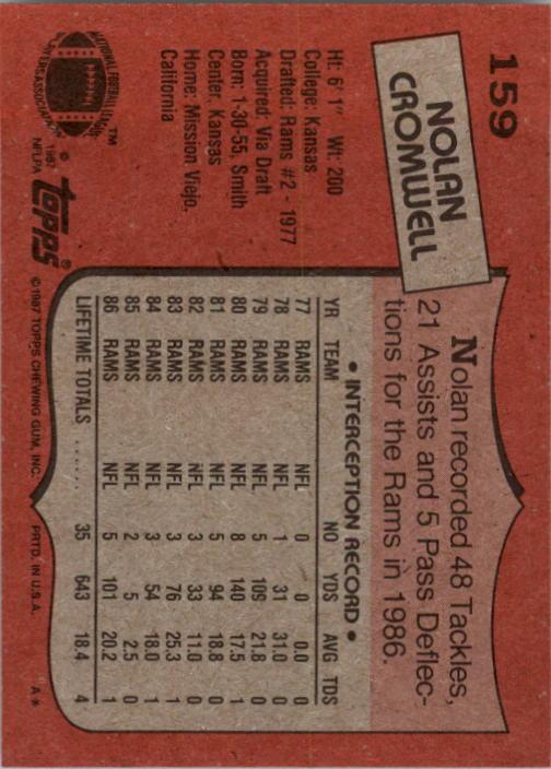 1987 Topps #159 Nolan Cromwell back image