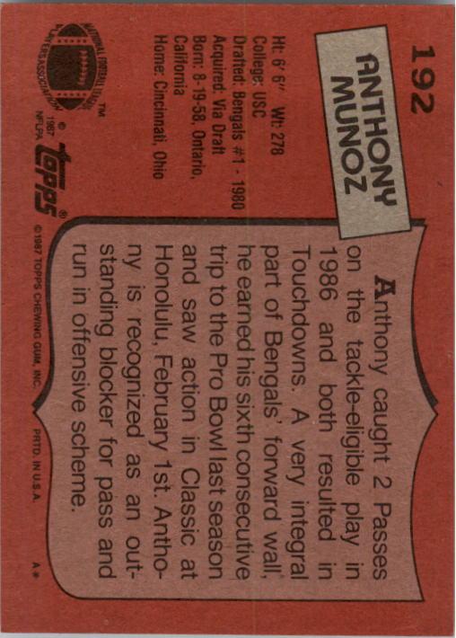 1987 Topps #192 Anthony Munoz back image