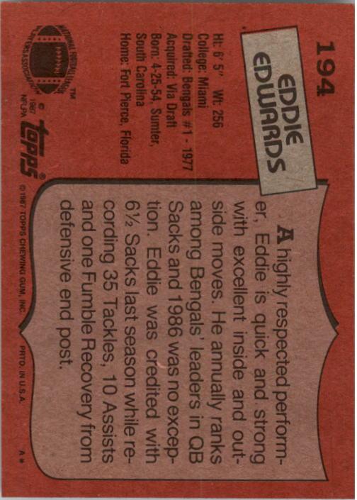 1987 Topps #194 Eddie Edwards back image