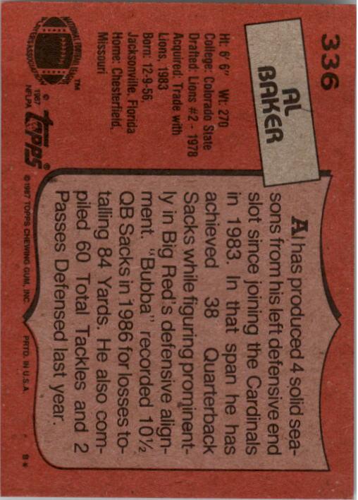 1987 Topps #336 Al(Bubba) Baker back image
