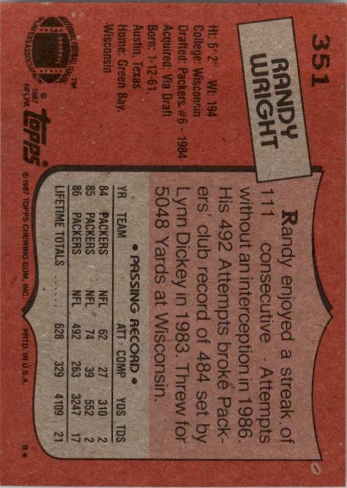 1987 Topps #351 Randy Wright back image