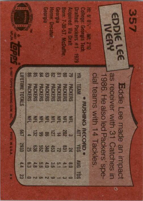 1987 Topps #357 Eddie Lee Ivery back image