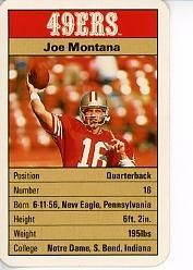 1987 49ers Ace Fact Pack #16 Joe Montana