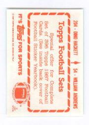 1987 Topps Stickers #54 William Andrews/ 204 Dino Hackett back image