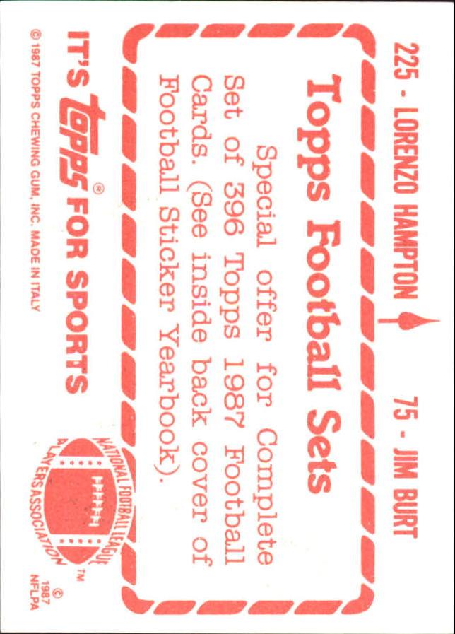 1987 Topps Stickers #75 Jim Burt/ 225 Lorenzo Hampton back image