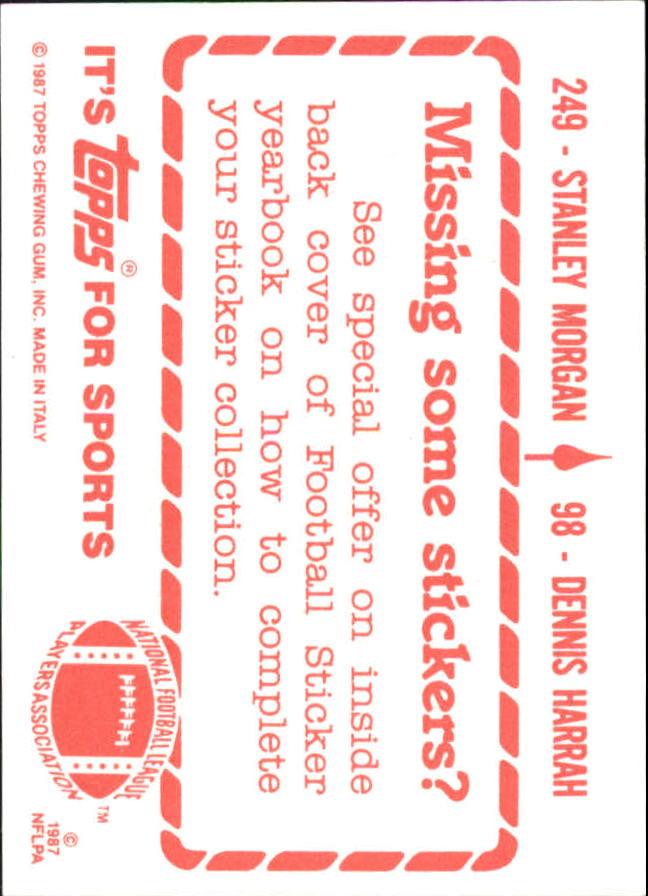 1987 Topps Stickers #98 Dennis Harrah/ 249 Stanley Morgan back image