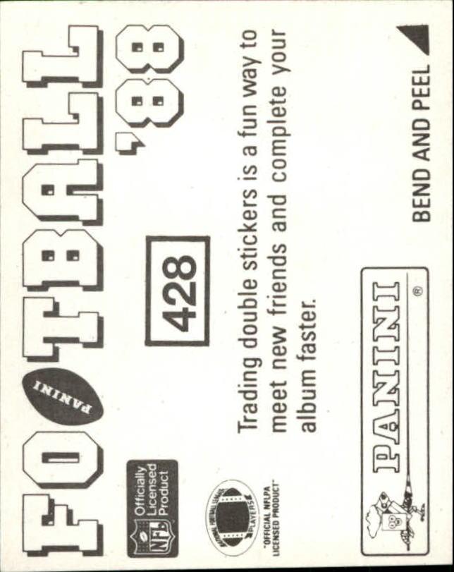 1988 Panini Stickers #428 Washington Redskins Action back image