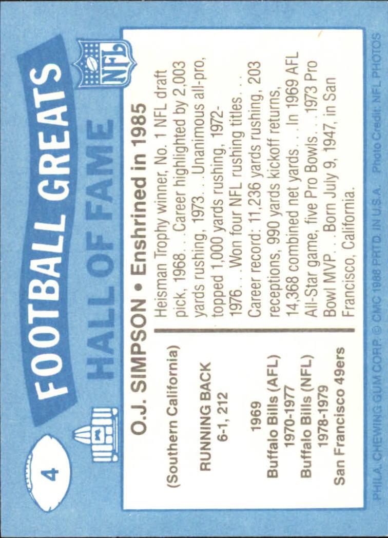 1988 Swell Greats #4 O.J. Simpson 85 back image