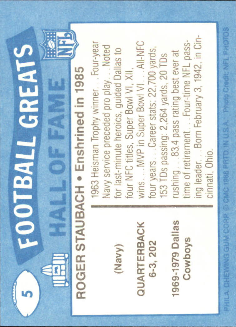 1988 Swell Greats #5 Roger Staubach 85 back image