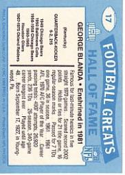 1988 Swell Greats #17 George Blanda 81 back image