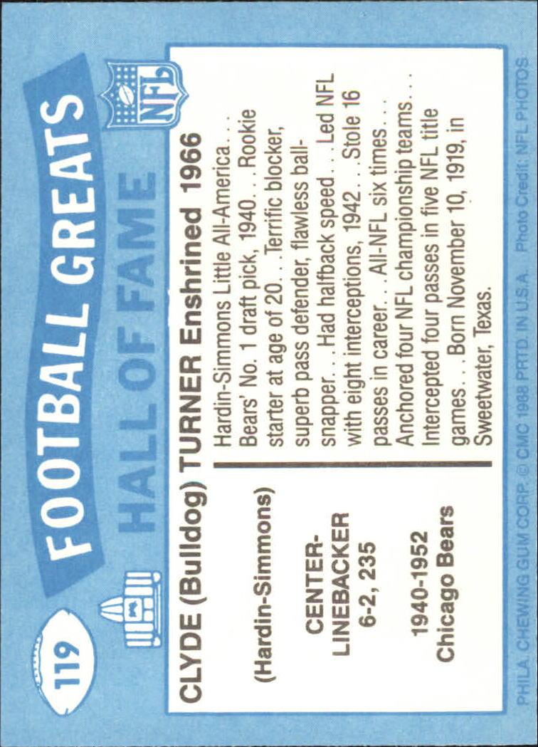 1988 Swell Greats #119 Bulldog Turner back image