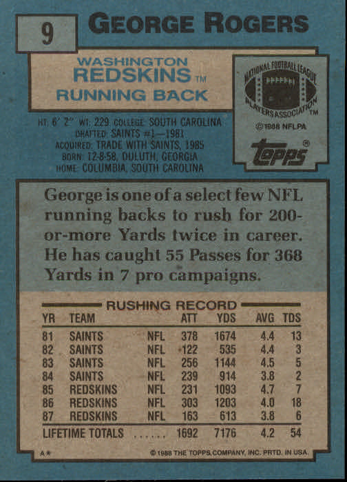 1988 Topps #9 George Rogers back image