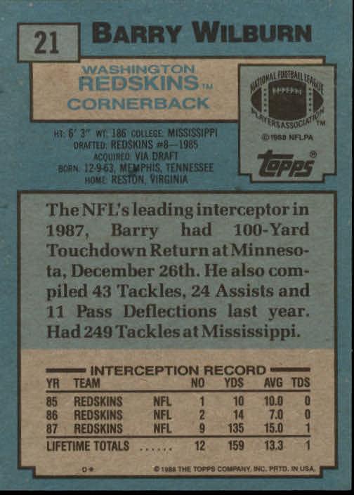 1988 Topps #21 Barry Wilburn back image