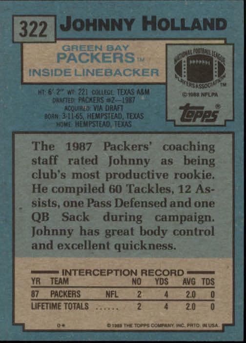 1988 Topps #322 Johnny Holland SR RC back image