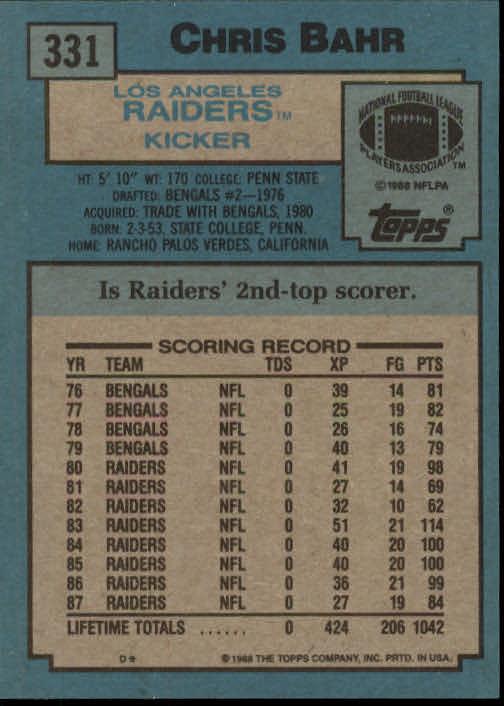 1988 Topps #331 Chris Bahr back image