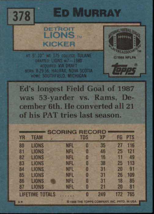 1988 Topps #378 Eddie Murray back image
