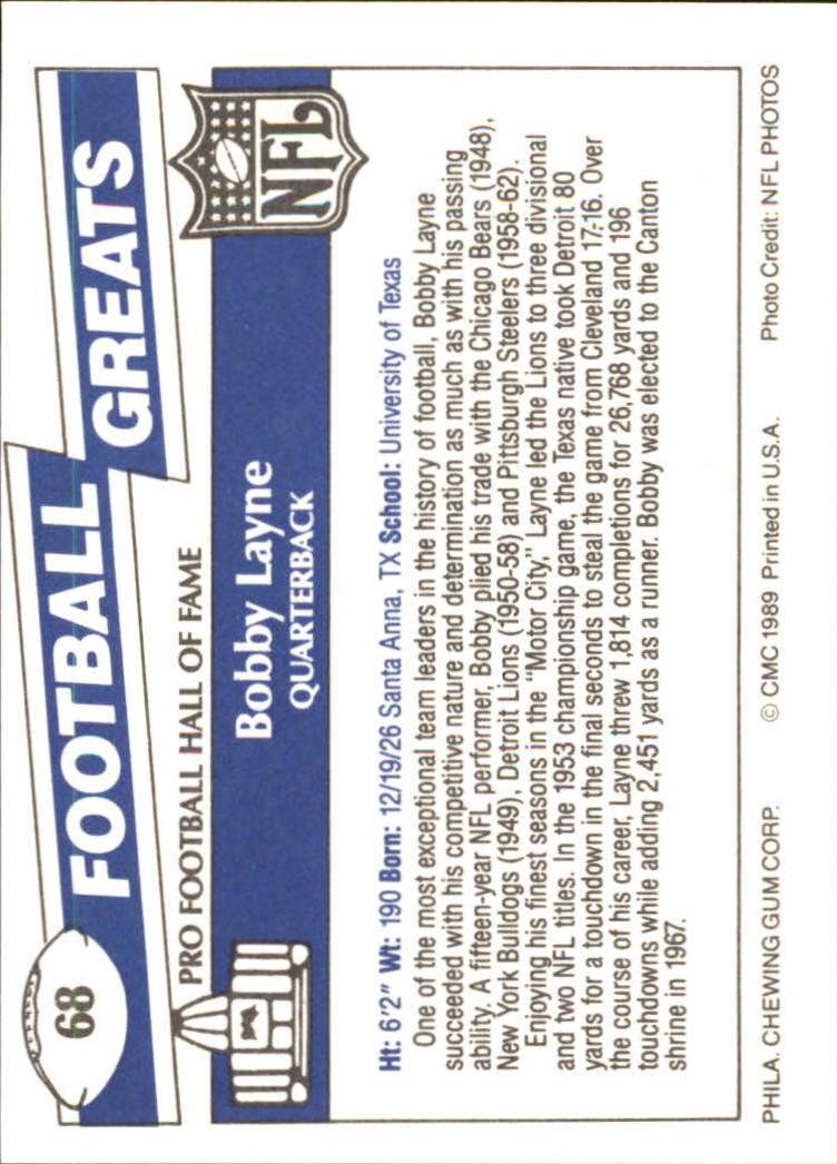 1989 Swell Greats #68 Bobby Layne back image