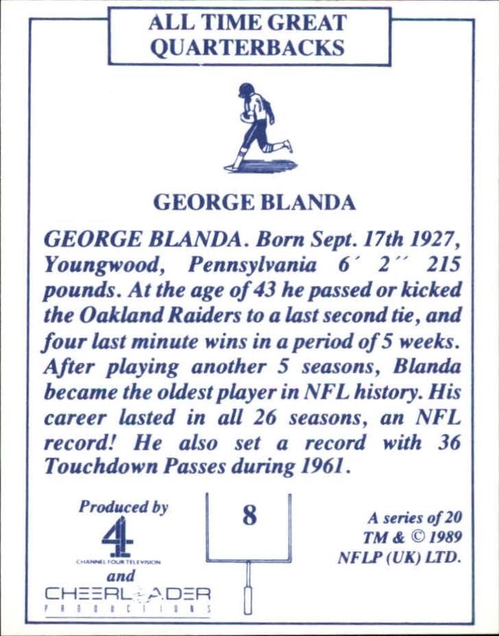 1989 TV-4 NFL Quarterbacks #8 George Blanda back image