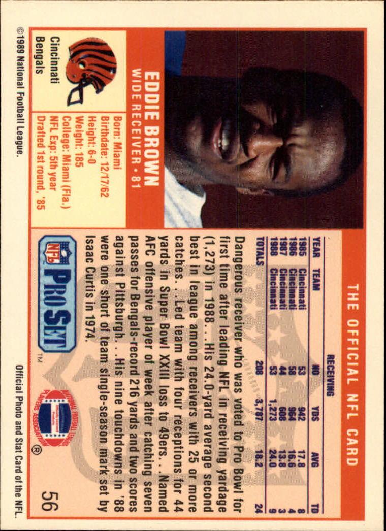 1989 Pro Set #56 Eddie Brown back image