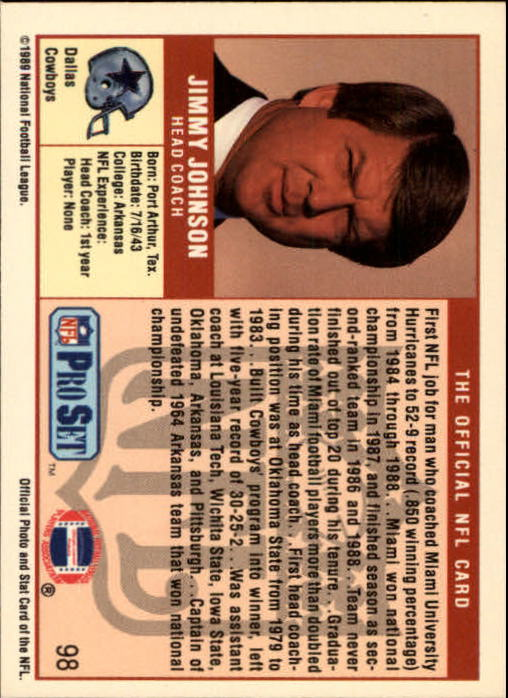 1989 Pro Set #98 Jimmy Johnson CO RC back image