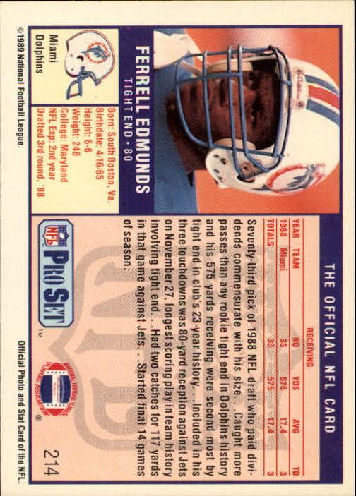 1989 Pro Set #214A Ferrell Edmonds RC/ERR, Misspelled Edmonds/on front and back) back image