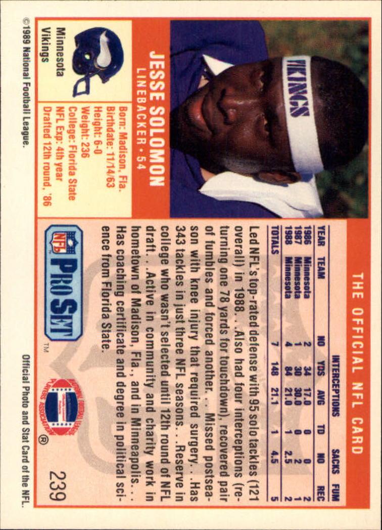 1989 Pro Set #239 Jesse Solomon back image
