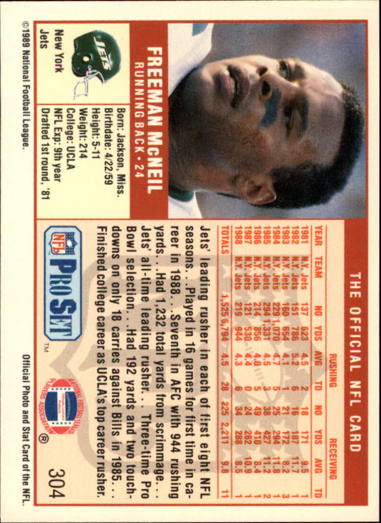 1989 Pro Set #304 Freeman McNeil back image