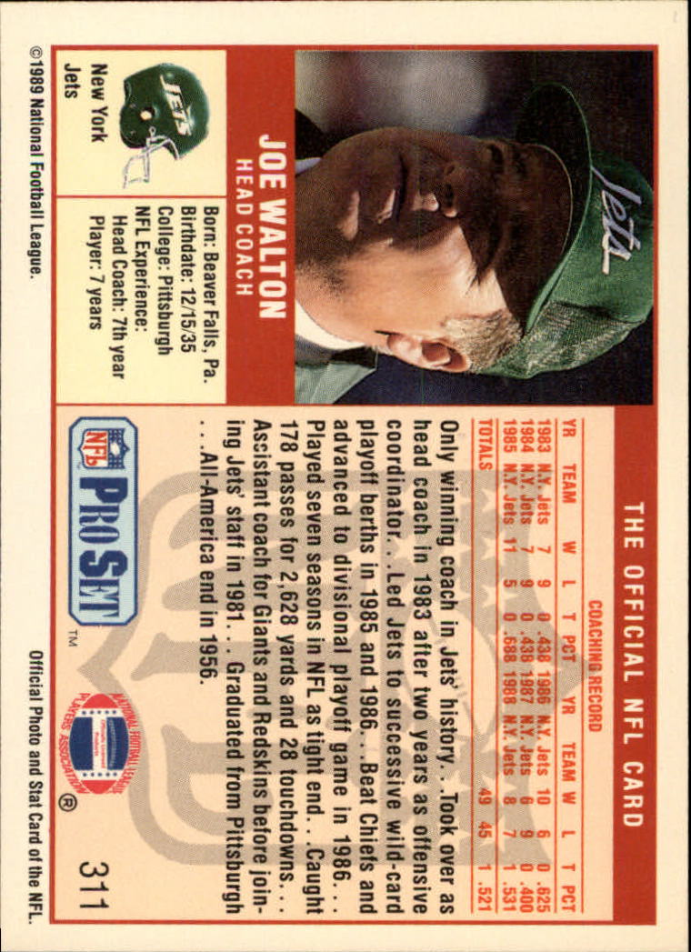 1989 Pro Set #311 Joe Walton CO back image