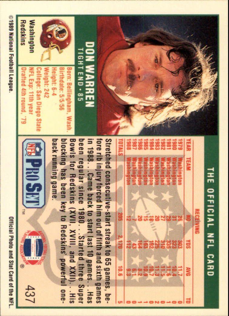 1989 Pro Set #437 Don Warren back image
