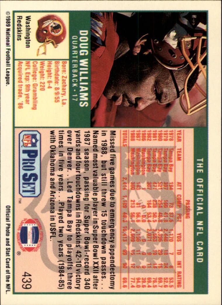 1989 Pro Set #439 Doug Williams back image