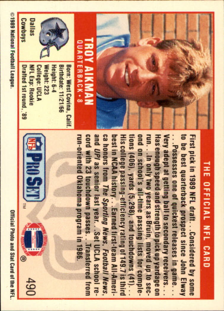 1989 Pro Set #490 Troy Aikman RC back image