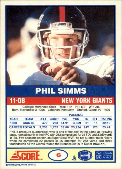 1989 Score #6 Phil Simms back image