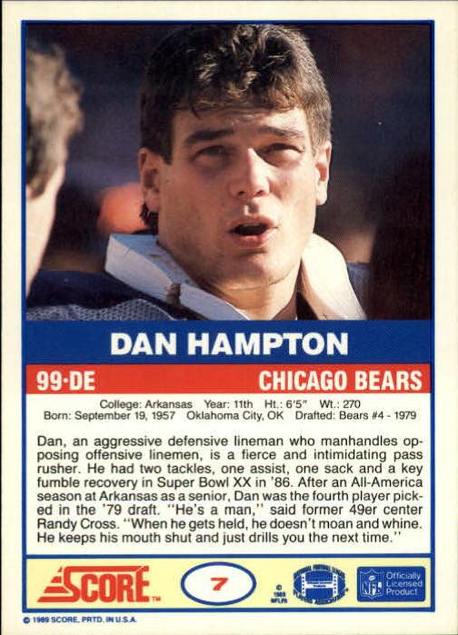 1989 Score #7 Dan Hampton back image