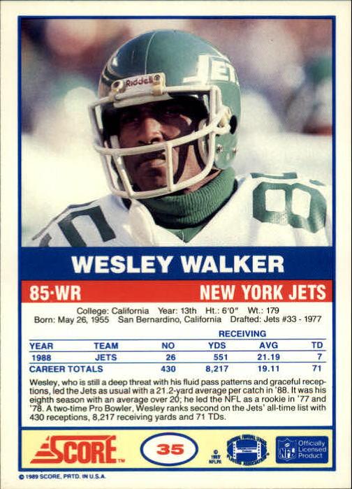 1989 Score #35 Wesley Walker back image