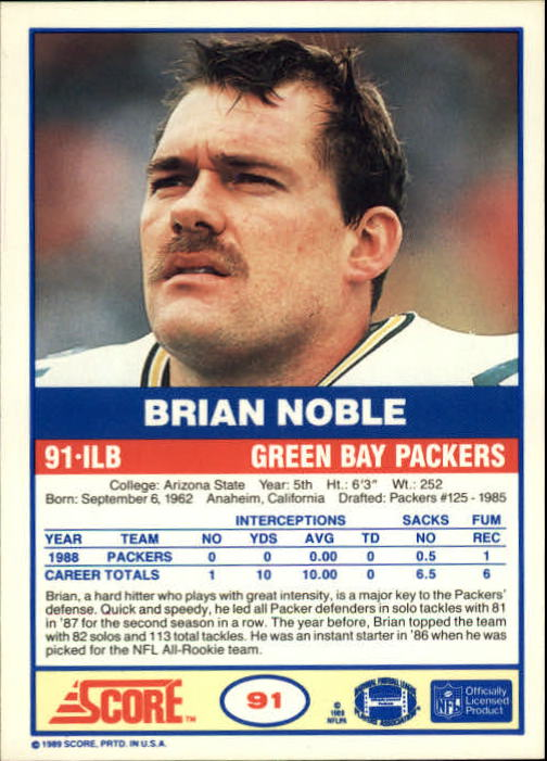 1989 Score #91 Brian Noble back image
