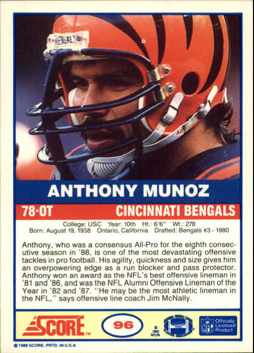 1989 Score #96 Anthony Munoz back image