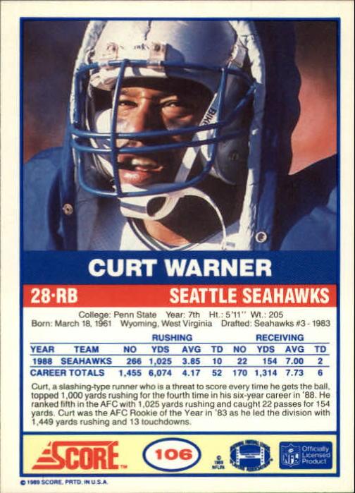 1989 Score #106 Curt Warner back image