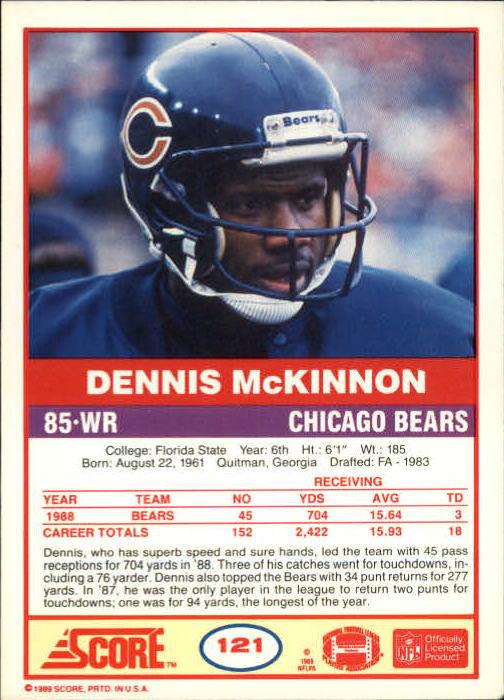 1989 Score #121 Dennis McKinnon back image