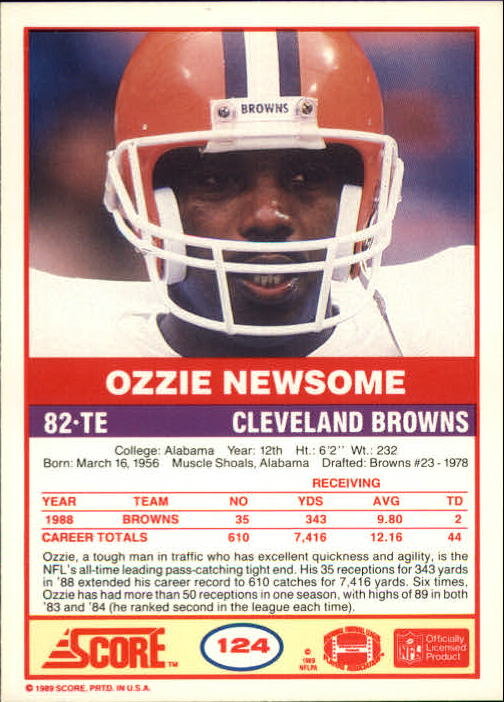 1989 Score #124 Ozzie Newsome back image