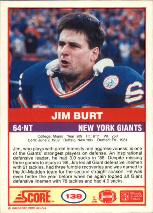 1989 Score #138 Jim Burt back image