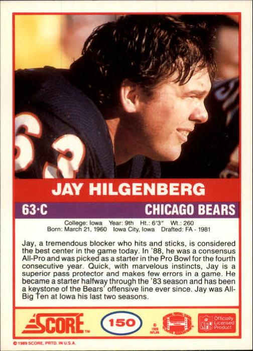 1989 Score #150 Jay Hilgenberg back image