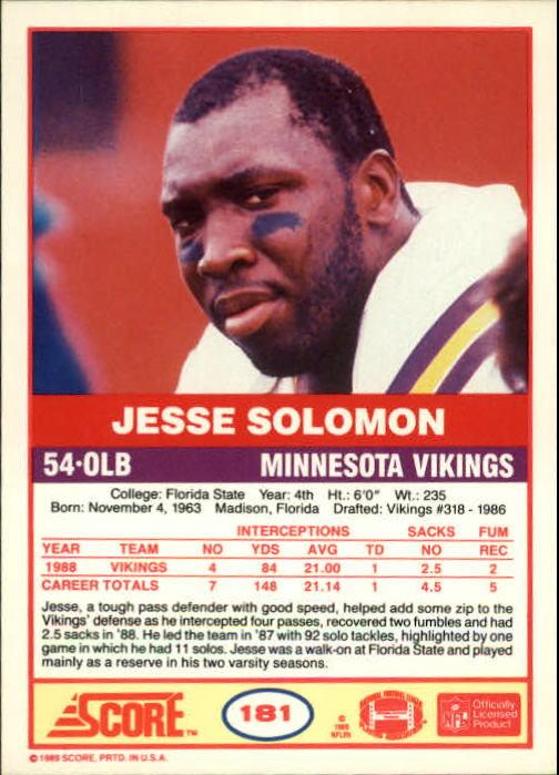 1989 Score #181 Jesse Solomon back image