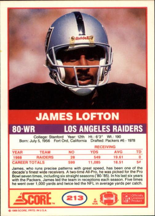 1989 Score #213 James Lofton back image