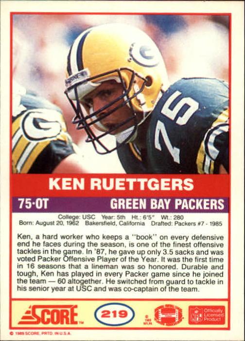 1989 Score #219 Ken Ruettgers RC back image