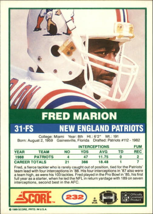 1989 Score #232 Fred Marion back image