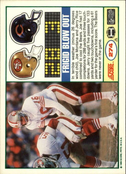 1989 Score #274 NFC Championship/49ers over Bears/(Joe Montana) back image
