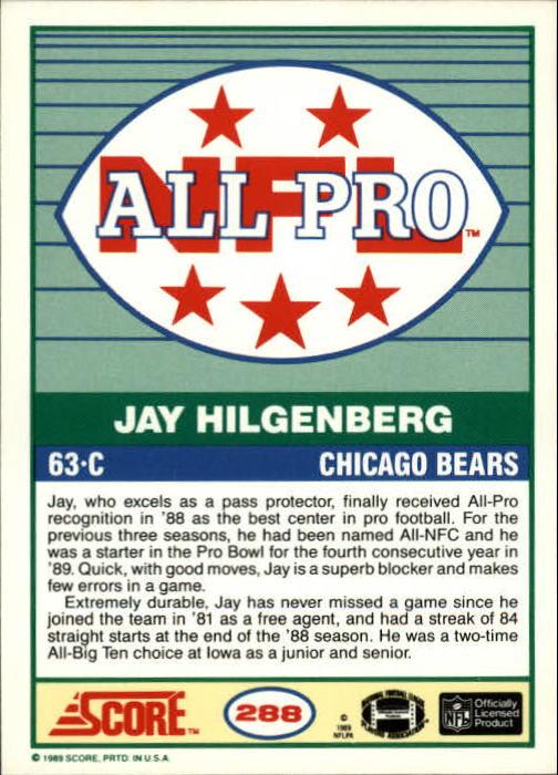 1989 Score #288 Jay Hilgenberg AP back image
