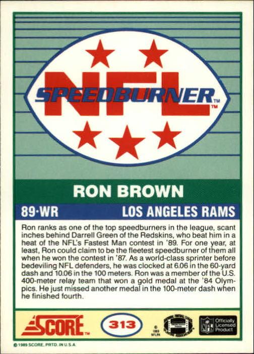 1989 Score #313 Ron Brown SPEED back image