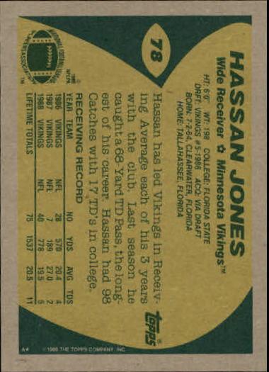 1989 Topps #78 Hassan Jones RC back image